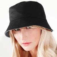 Topi bucket hat bolak bali wanita/ pria warna hitam bahan japan drill