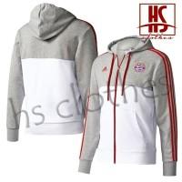 Jaket Adidas Bayern Munich Munchen Hoodie Zipper Bahan Katun Fleece