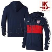 Jaket Hoodie Zipper Adidas Bayern Munich Munchen Bahan Katun Fleece