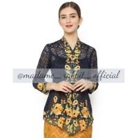 Baju Wanita Kebaya Brokat Navy Bordir Bunga Gold Madame Rabbit