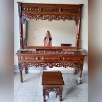 Meja Rias Konsul Peluru Altar Kayu Jati Pigura Cermin Kaca Ukir Jepara