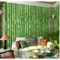 Grosir murah wallpaper stiker dinding pohon bambu hijau 3D