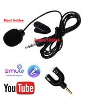 Paket Mic Clip On 3.5mm with Splitter U smule vlogger