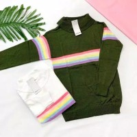 RAINBOW turtle Shirt Baju wanita sweater wanita terbaru rajut terbaru - Hitam
