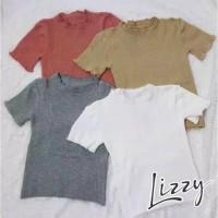 crop tshirt TOP knit kriwil rajut korea Baju wanita Baju Rajut Wanita - Navy
