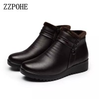Winter Boots Women Genuine Leather Ankle Warm Boots Mom autumn plush
