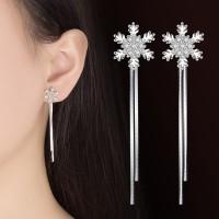 Anting Tassel Korea Silver S925 Panjang Snowflakes Full Blink A9806