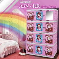 AKAKO - Lemari Plastik Printing Rainbow ruby + Kaca 4 Susun 12 pintu