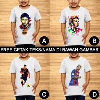 Lionel Messi Baju Kaos Bola Anak dan Balita Custom Teks/Nama