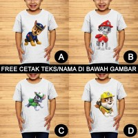 Paw Patrol Baju Kaos Anak dan Balita Kartun Custom Teks/Nama