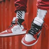 Sepatu Nike Air Jordan 1 Red OffWhite Sneakers For Man Premium Origina