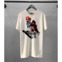 T-shirt Mario Bros / Baju Kaos Distro Pria Wanita Putih Pendek Slimfit