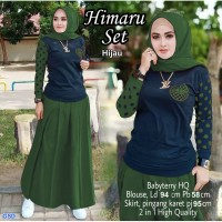 Himaru set Hijau/set rok syari wanita/baju hijab+rok/set muslim murah