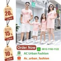 2 Stel Baju Couple Keluarga Pink Lucu Anak Cewe Cowo- Setelan Keluarga