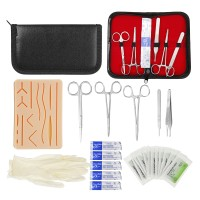 Promo 25 In 1 Medical Skin Suture Surgical Training Kit Silicone Pad