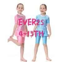 baju renang anak rok perempuan 4-13th bahan PREMIUM KUALITAS import - SIZE S, Merah Muda