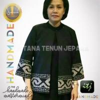 Blazer Batik Wanita Gaya Bahan Kain Tenun Asli Handmade