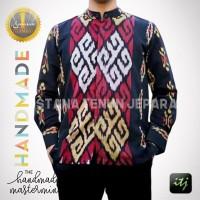Baju Batik Pria Lengan Panjang - Kemeja Batik Tenun Troso Hitam