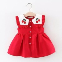 baju bayi dress anak perempuan merah cherry