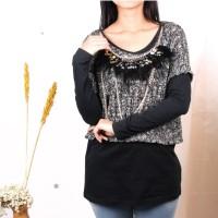 Baju Atasan Wanita 2 pcs Luar Rajut Kalung Bulu IMPORT READY STOCK