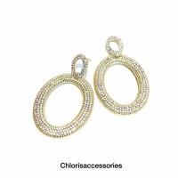 Anting Bulat Ring Permata Import Fsahion Wanita