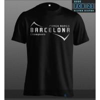 Kaos Barcelona Baju Distro Fans Forca Barca Champions Hitam Silver