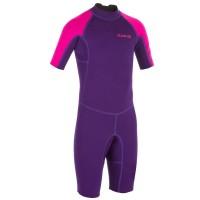 Baju surfing anak perempuan Surf shorty wetsuit neoprene Olaian pink