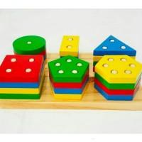 Mainan Edukasi Anak SIX SHAPE BLOCK ~ 6 Block Bentuk Bangunan