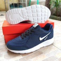 Sepatu Nike Air Max Hitam Polos List Putih Fullblack Sekolah Murah - E