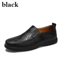 Men leather casual flat formal shoes Big size 39-47 brown black yellow