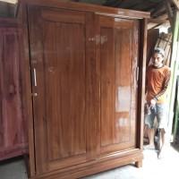 lemari pakaian jati 2 pintu sliding besar