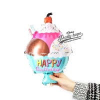 balon foil es cream mangkok mini / balon es krim / kue / cake mangkok