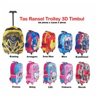 Transformer Tas 3D Timbul Koper Ransel Anak Sekolah SD/TK Tas Trolley - Frozen