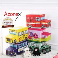 Storage Box Organizer Kotak Penyimpanan Mainan Stool Kursi - Seri Bus - Kuning