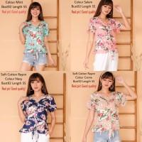 Blouse Atasan Katun Tangan Pendek Motif Bunga/Glonie Shirt