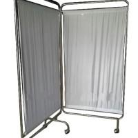 Bedscreen 2Bidang Pembatas Ruangan Dirumah Sakit Bahan Stainless Steel