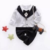 romper bayi formal vest dasi abu abu keren
