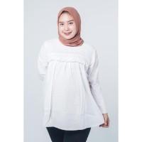 Mama Hamil Baju Ibu Hamil Muslim Busui Kerja Putih Bordir Luna Blouse