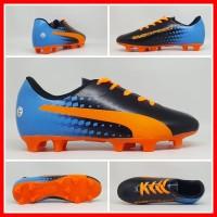 Sepatu Bola Anak Puma Evospeed Hitam Biru List Orange