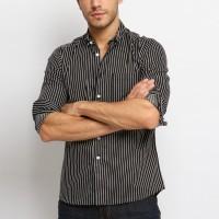 VENGOZ Kemeja Pria Slim Fit - Jaden Black Stripe Shirt