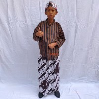 Baju Sorjan Lurik Anak Lengkap / Baju Adat Jawa Lengkap Anak Laki-Laki