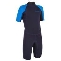 Baju surfing anak - 100 1.5MM NEOPRENE SHORTY WETSUIT blue