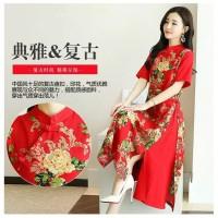 cheongsam dress motif floral/dress imlek big size premium import