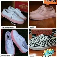 Sepatu Vans Authentic Peach Catur Putih Pink/Peach+ Box