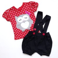Baju Setelan Anak Bayi Cewek Perempuan Kaos Owl Polkadot Celana Overal