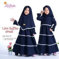 Baju Anak Perempuan Muslim Wollycrape by Labella Navy Usia 3-9 Tahun