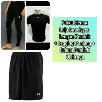 Paket Hemat Baju Manset Baselayer Lengan Pendek+Celana Legging Strech