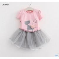 St cat Pink/setelan atasan dan rok tutu anak perempuan/baju anak murah