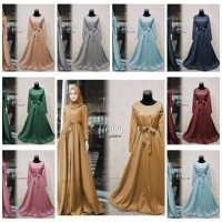 Gamis Pesta Baju Muslim wanita Gamis Brukat persian
