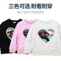 baju panjang sweater flip sequin love impor murah anak perempuan cewek